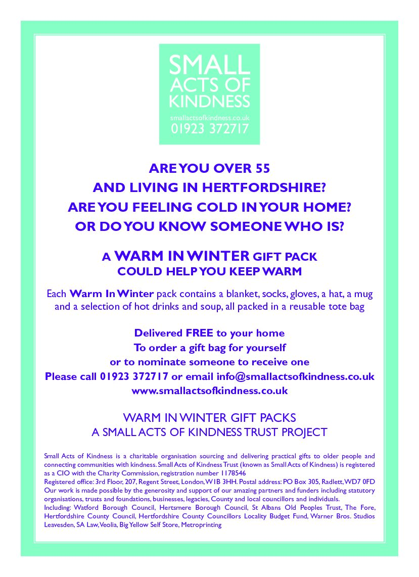 Do you know someone who would benefit from a Winter Warmer Bag?