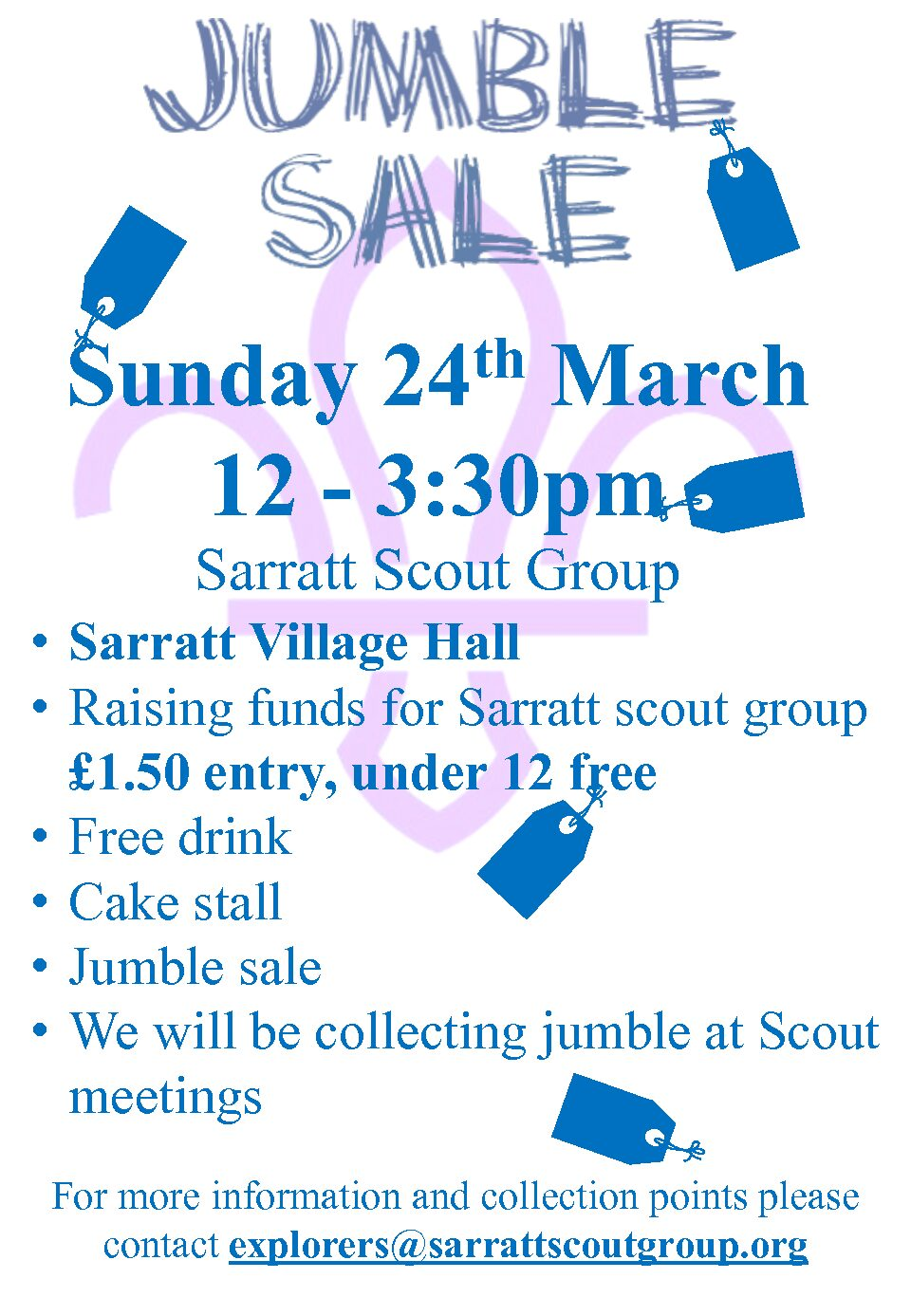 Jumble Sale this Sunday in the Village Hall