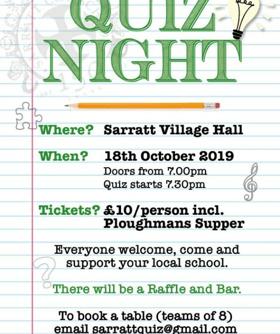 Sarratt School Quiz Night – Book a table and support our school.